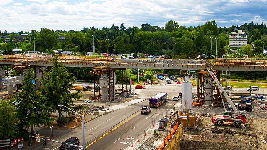 west view of Northgate Link light rail station construction