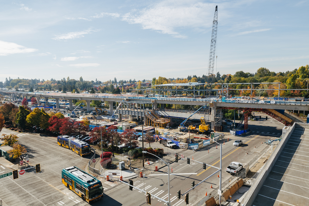 View of the future Northgate Link light rail station from the nearby parking garage