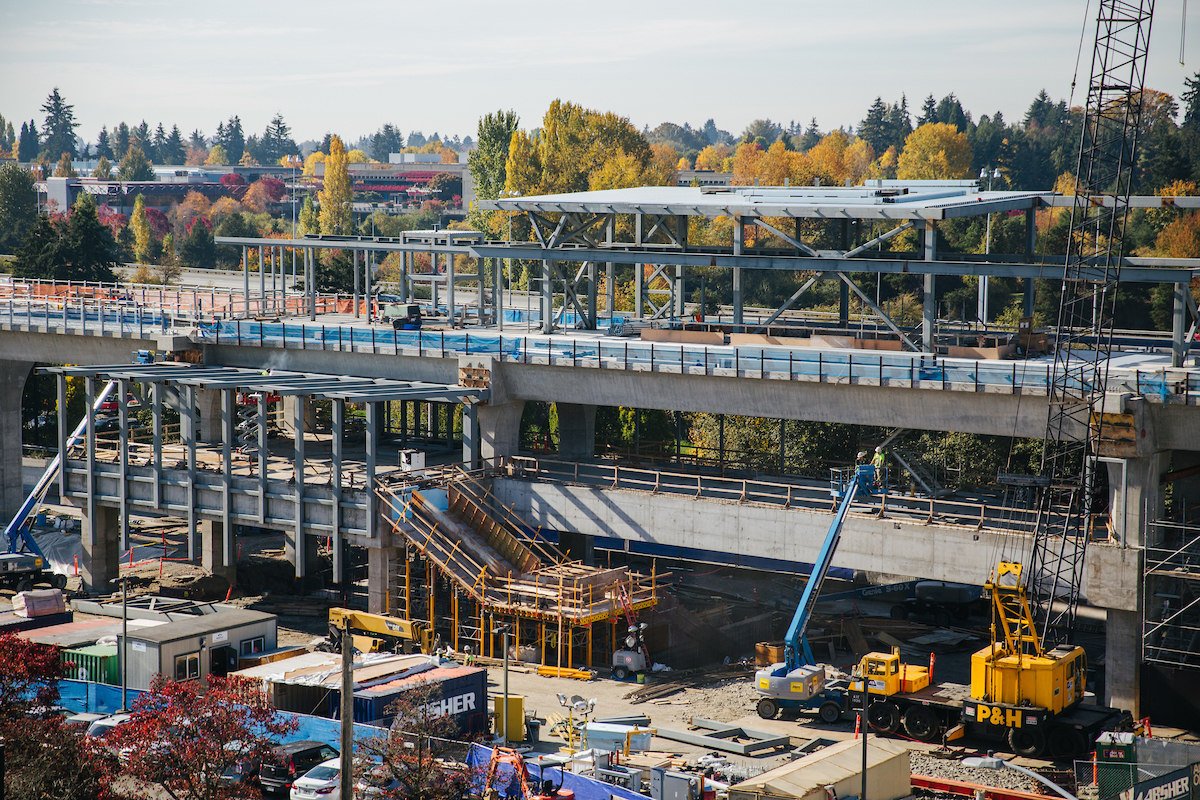 Zoomed in shot of the future Northgate Link light rail station from the nearby parking garage