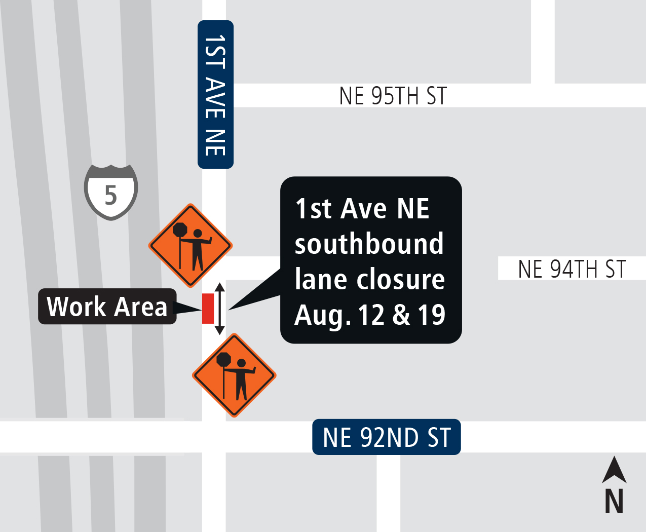 Map of 1st Ave NE closure area August 2017