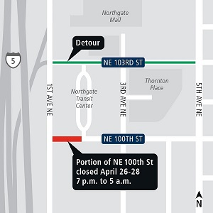 Nighttime closure of Northgate Link Extension