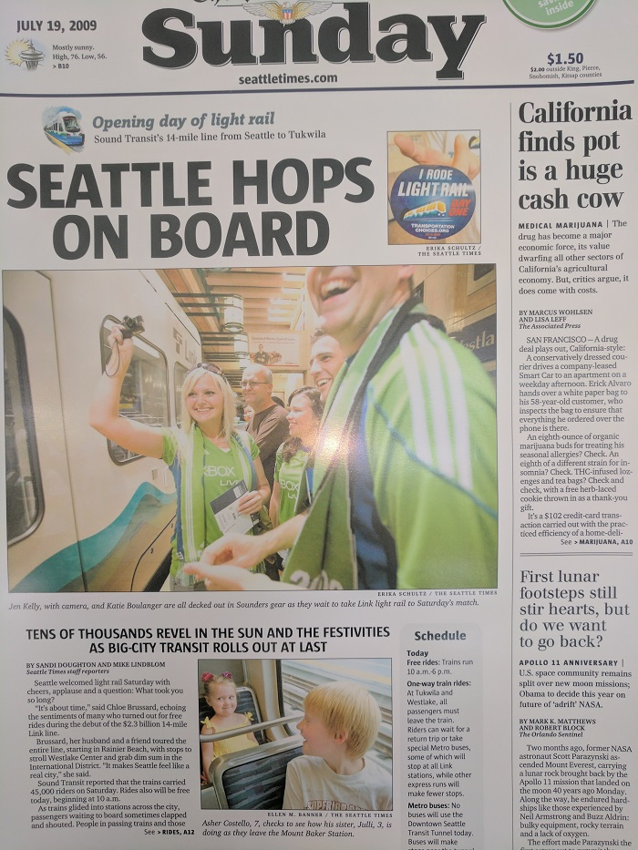 Cover of the Seattle Times the day after Link opened in 2009