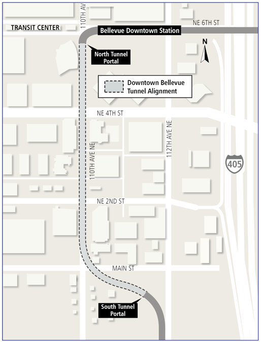 Downtown Bellevue tunnel alignment