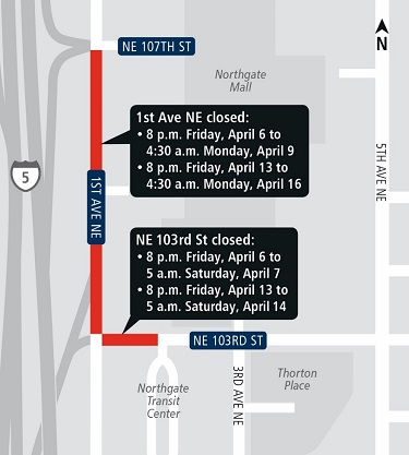 nighttime closures at NE 103rd street