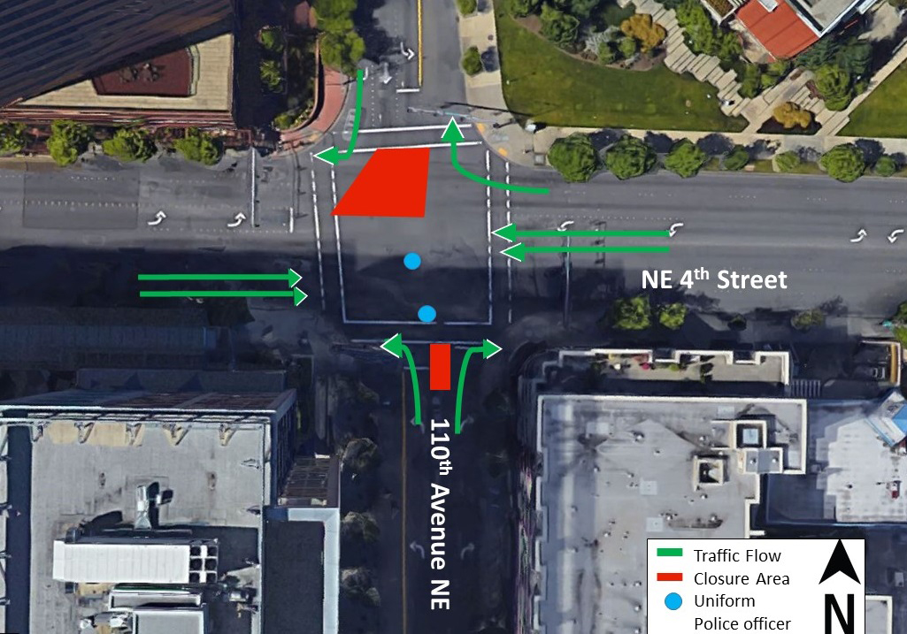 Map of lane closures at 110th Avenue Northeast and Northeast 4th Street.