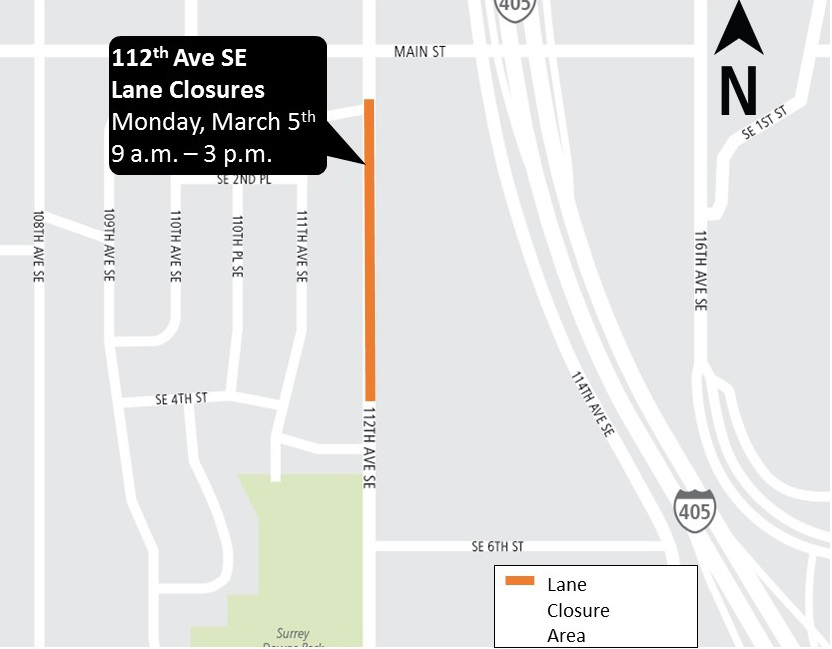 Map of closures on 112th Avenue Southeast in Bellevue.