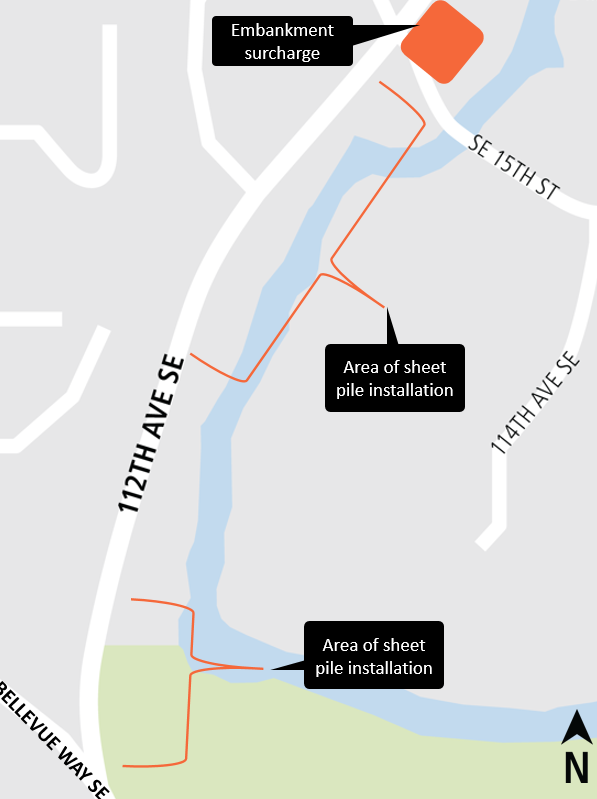 Map of soil stabilization work on 112th Avenue Southeast.