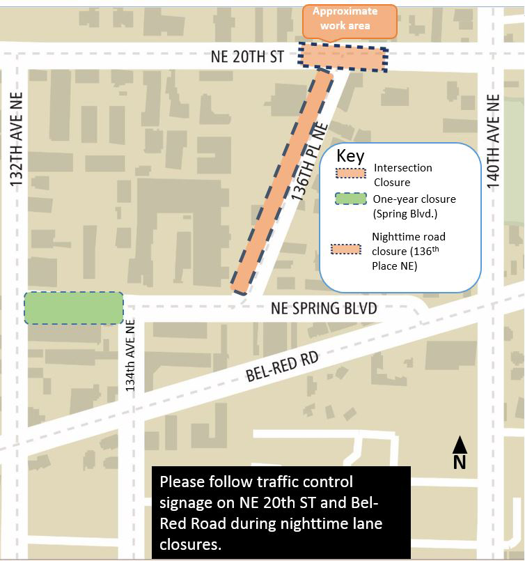 Nighttime intersection closures at Northeast 20th Street and 136th Place Northeast and nighttime road closure of 136th Place Northeast.