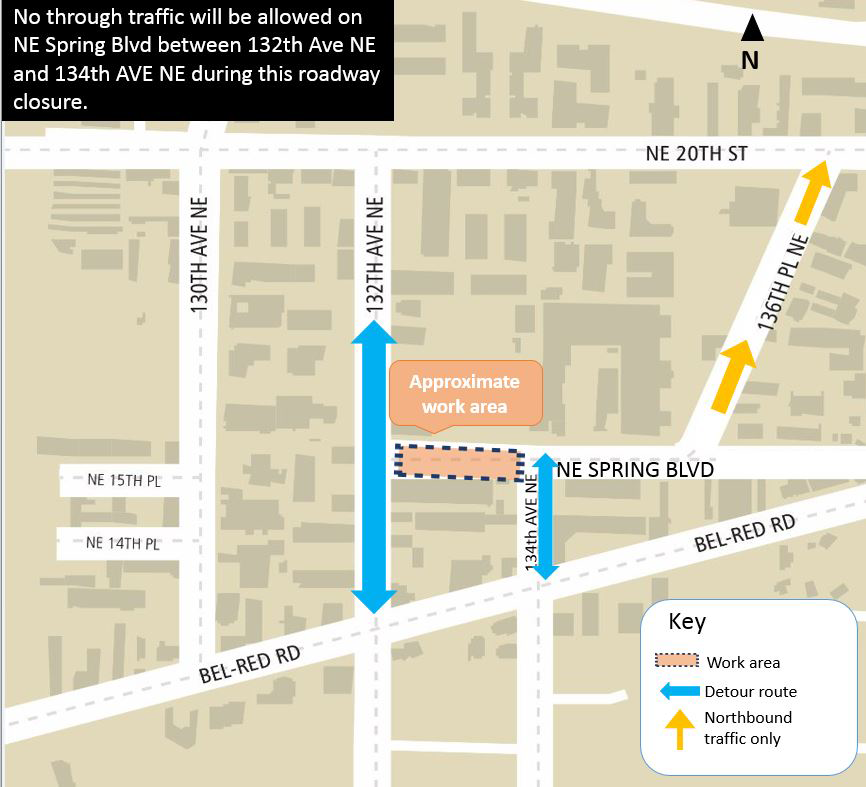 Map of Northeast Spring Boulevard closure in BelRed.