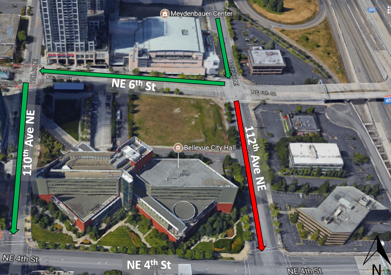 Map showing detour for construction work on 112th Avenue in Bellevue.