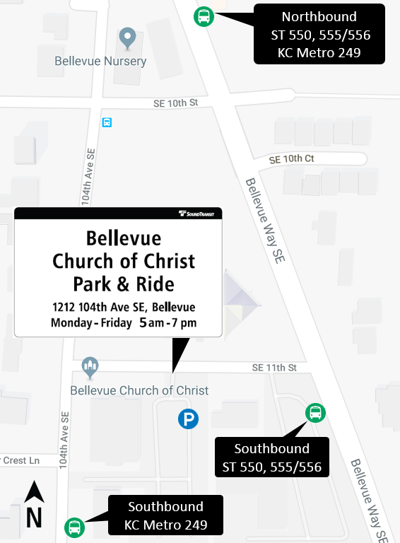 Map showing location of the Bellevue Church of Christ Park and Ride.