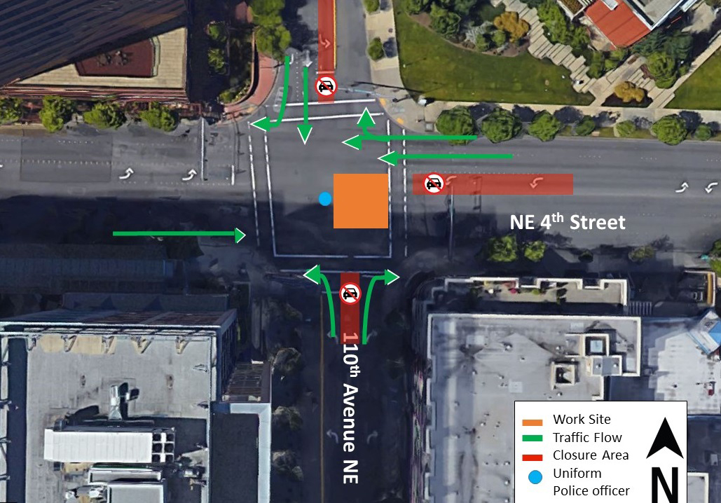 Day one map of traffic impacts at the intersection of 110th Avenue Northeast and Northeast 4th Street.