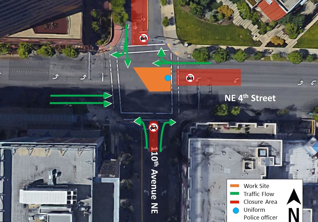 Day two map of traffic impacts at the intersection of 110th Avenue Northeast and Northeast 4th Street.