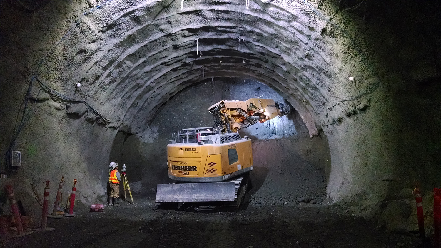 Construction crew excavate the downtown Bellevue light rail tunnel.