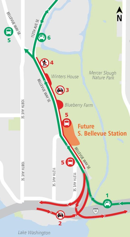 Map of Bellevue Way Southeast lane closures.