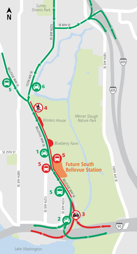Map of northbound ramp closures for Bellevue Way Southeast.