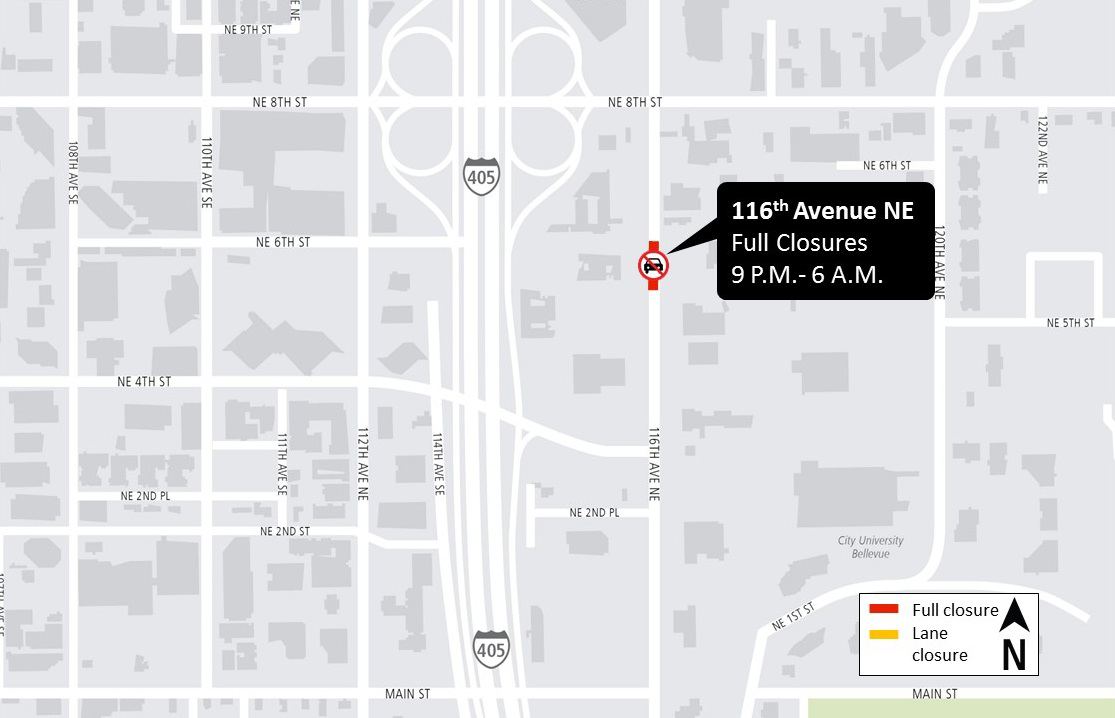 Map showing location of lane closure in central Bellevue.