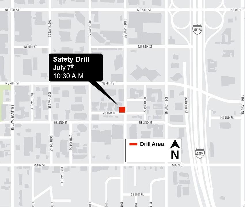 Map showing location of July 7th safety drill.