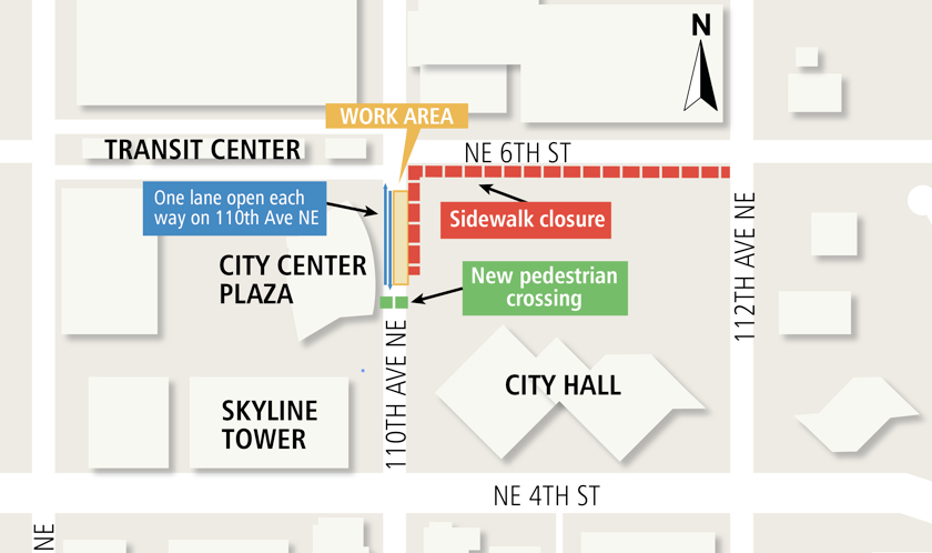 Map showing lane reopening in central Bellevue.