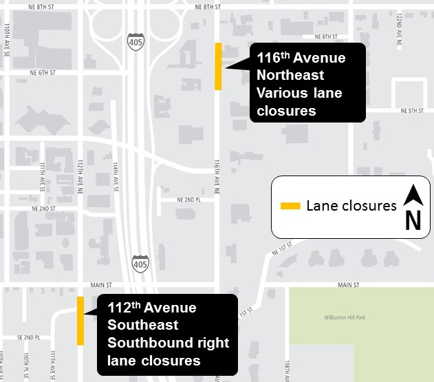 Map of downtown Bellevue lane closures.