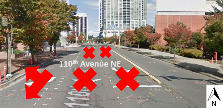 Photo illustrating lane closures on 110th Ave NE in Bellevue.
