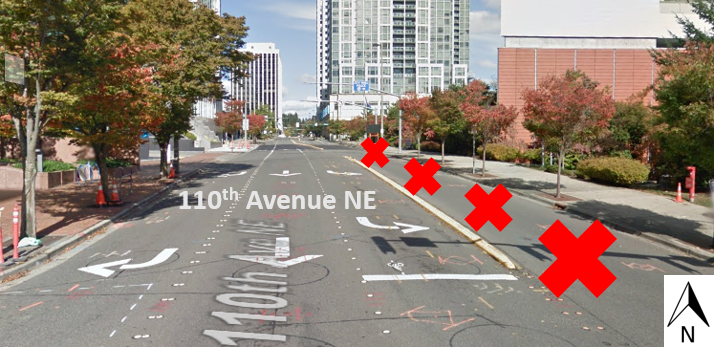 Map illustrating closing of the northbound lane on 110th Avenue between Northeast 4th Street and Northeast 6th Street.