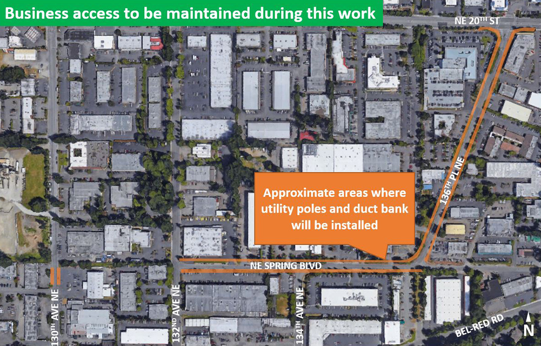 Map of utility pole installation work.