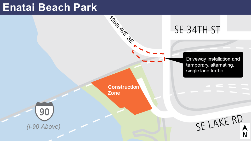 Enatai Beach construction work map.