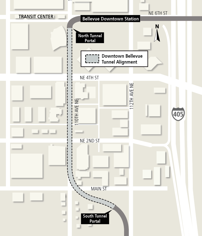 Map of Link light rail tunnel alignment under downtown Bellevue.