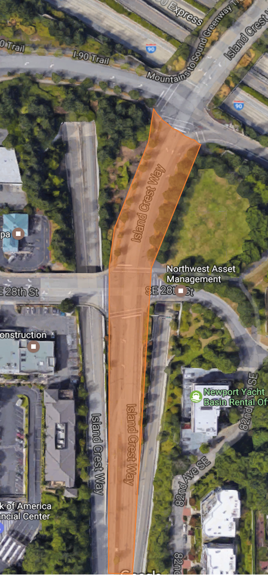 Map showing location of restriping work on Island Crest Way on Mercer Island.