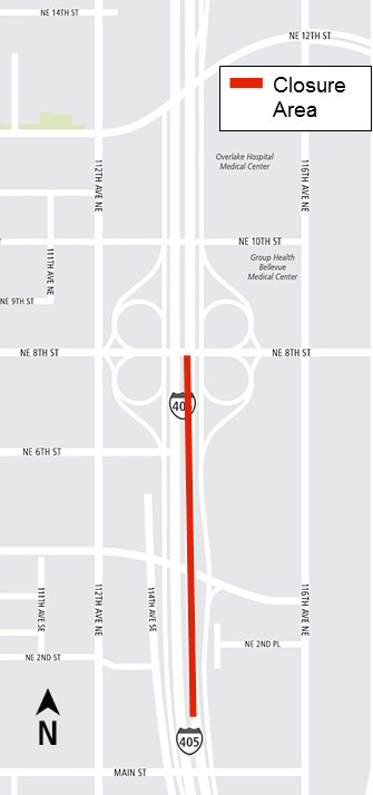 Map of the length of I-405 lane closures.