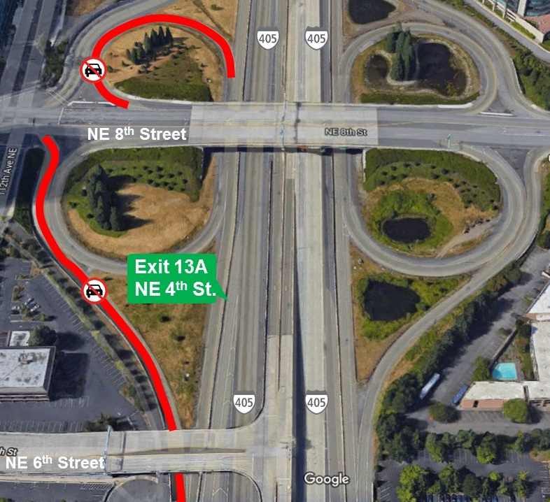 Map of I-405 ramp closures in downtown Bellevue.