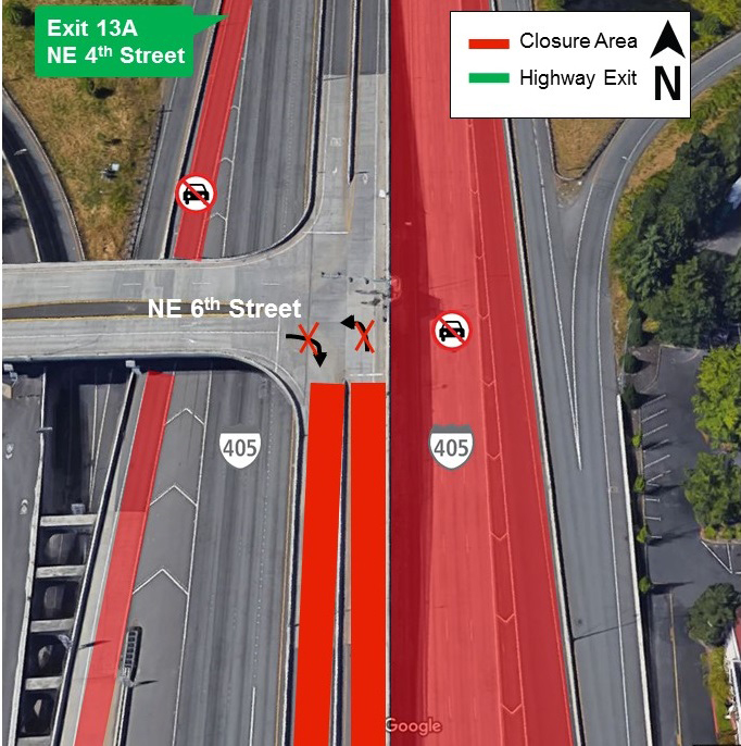 Map of traffic path at downtown Bellevue exit.