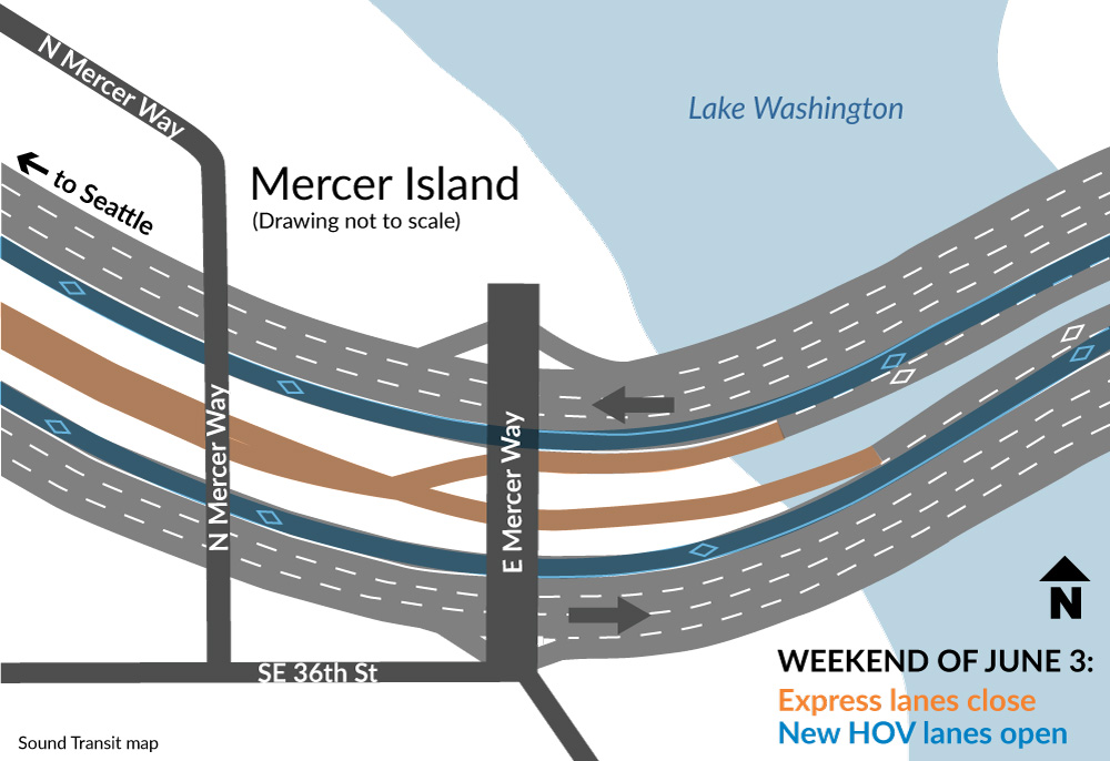 Map of I-90 closures and changes for the East Channel Bridge.