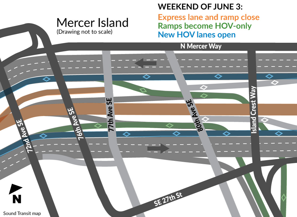 Map of I-90 closures and changes for Mercer Island.