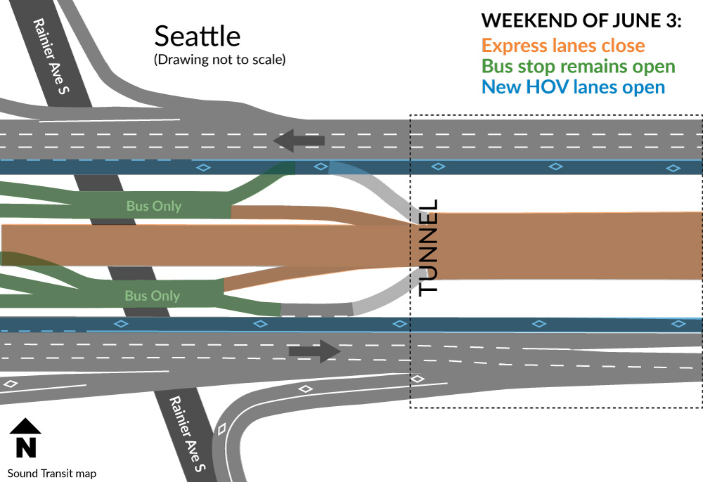 Map of I-90 closures and changes for Seattle.