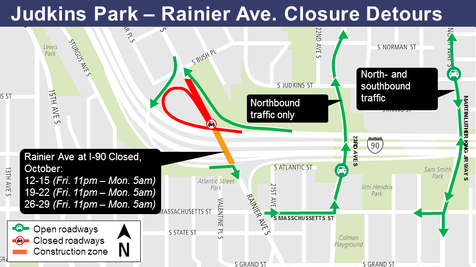 Judkins Park - Rainier Avenue closure detours map.
