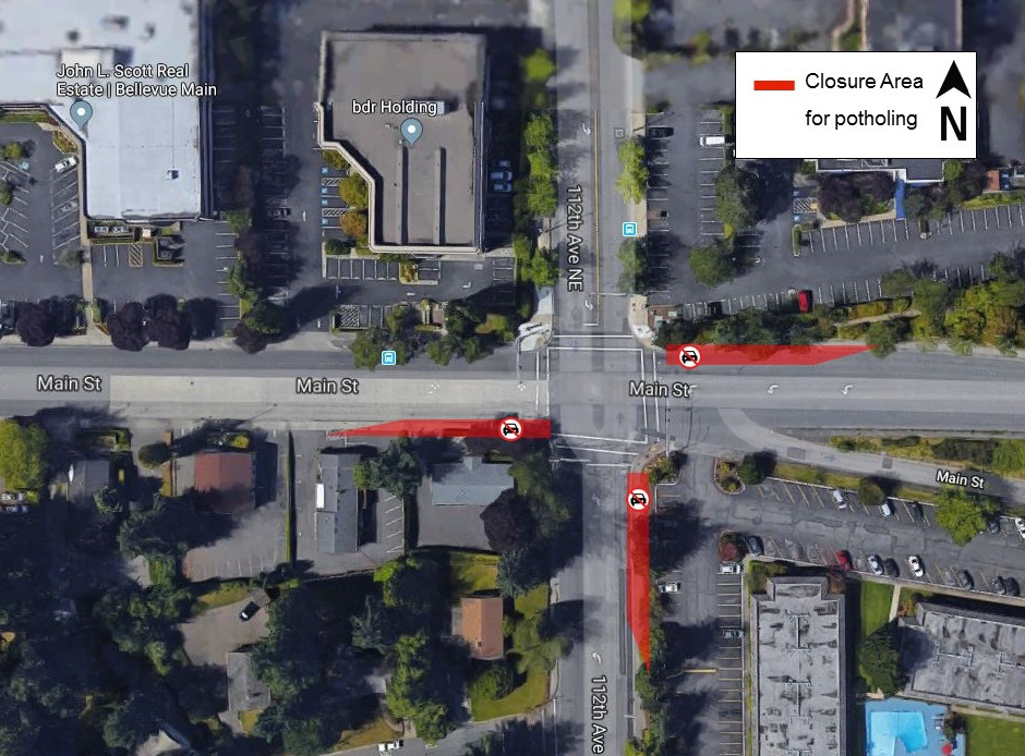 Map of potholing at Main Street and 112th Avenue Southeast in Bellevue.