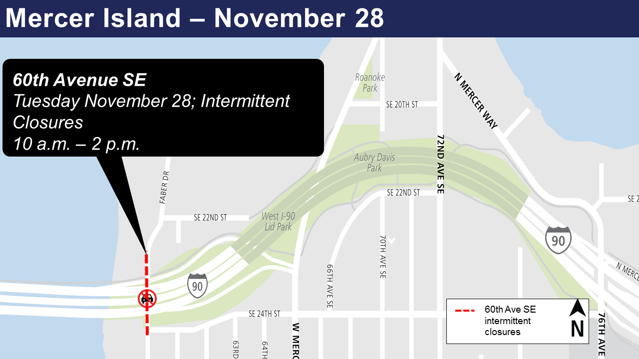 Map of intermittent lane closures on 60th Avenue Southeast.