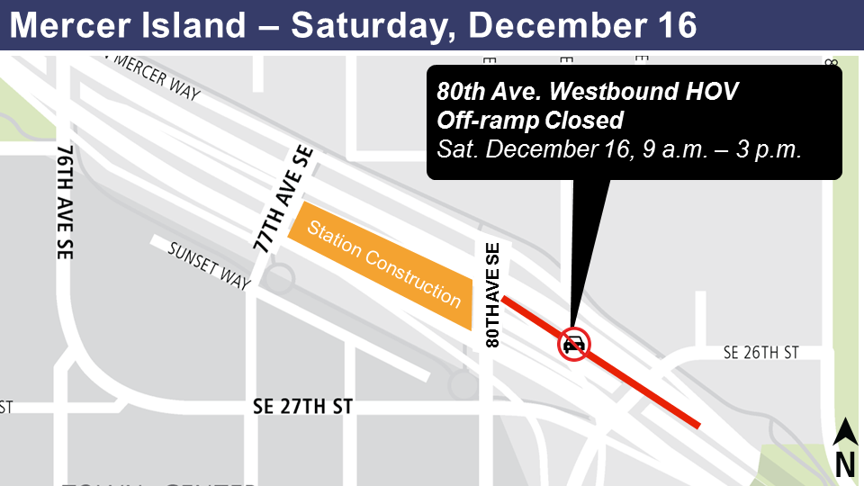 Map of 80th Avenue westbound HOV off-ramp closure on Mercer Island.