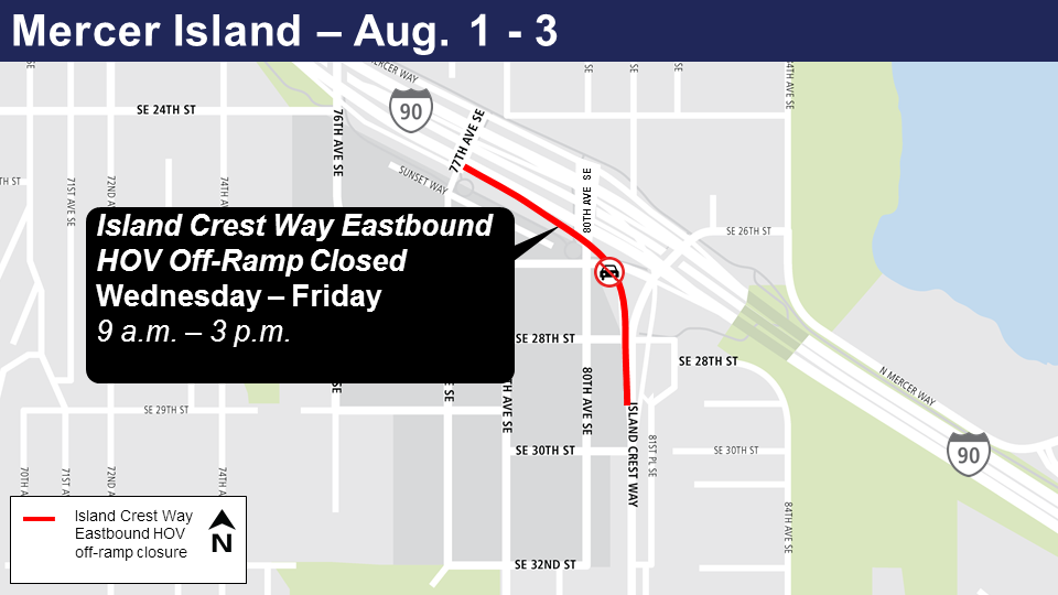 Map of Island Crest Way eastbound HOV ramp closures.