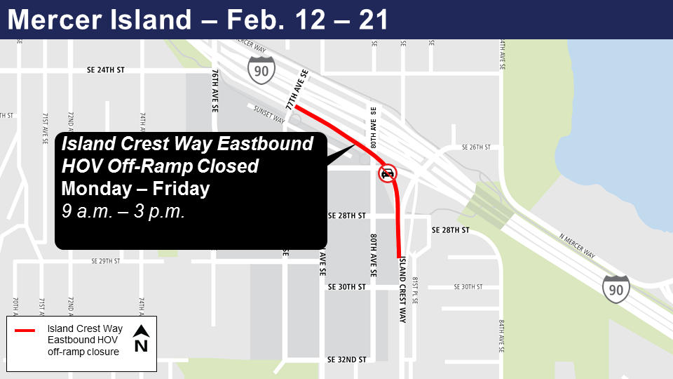 Map of off-ramp-closures for Island Crest Way Eastbound, Mercer Island.