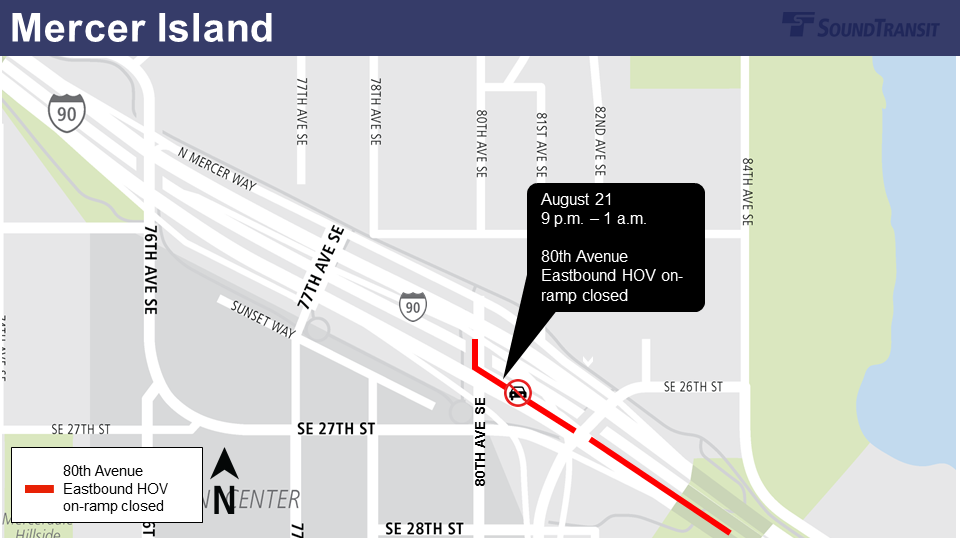 Map of 80th Avenue ramp closure on Mercer Island.