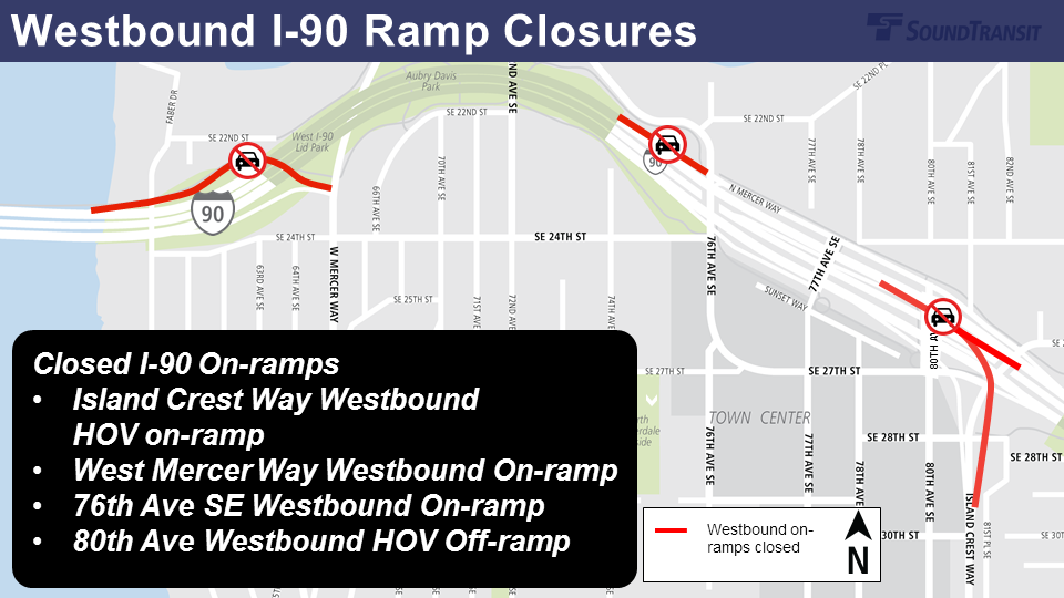 Map of I-90 westbound ramp closures.