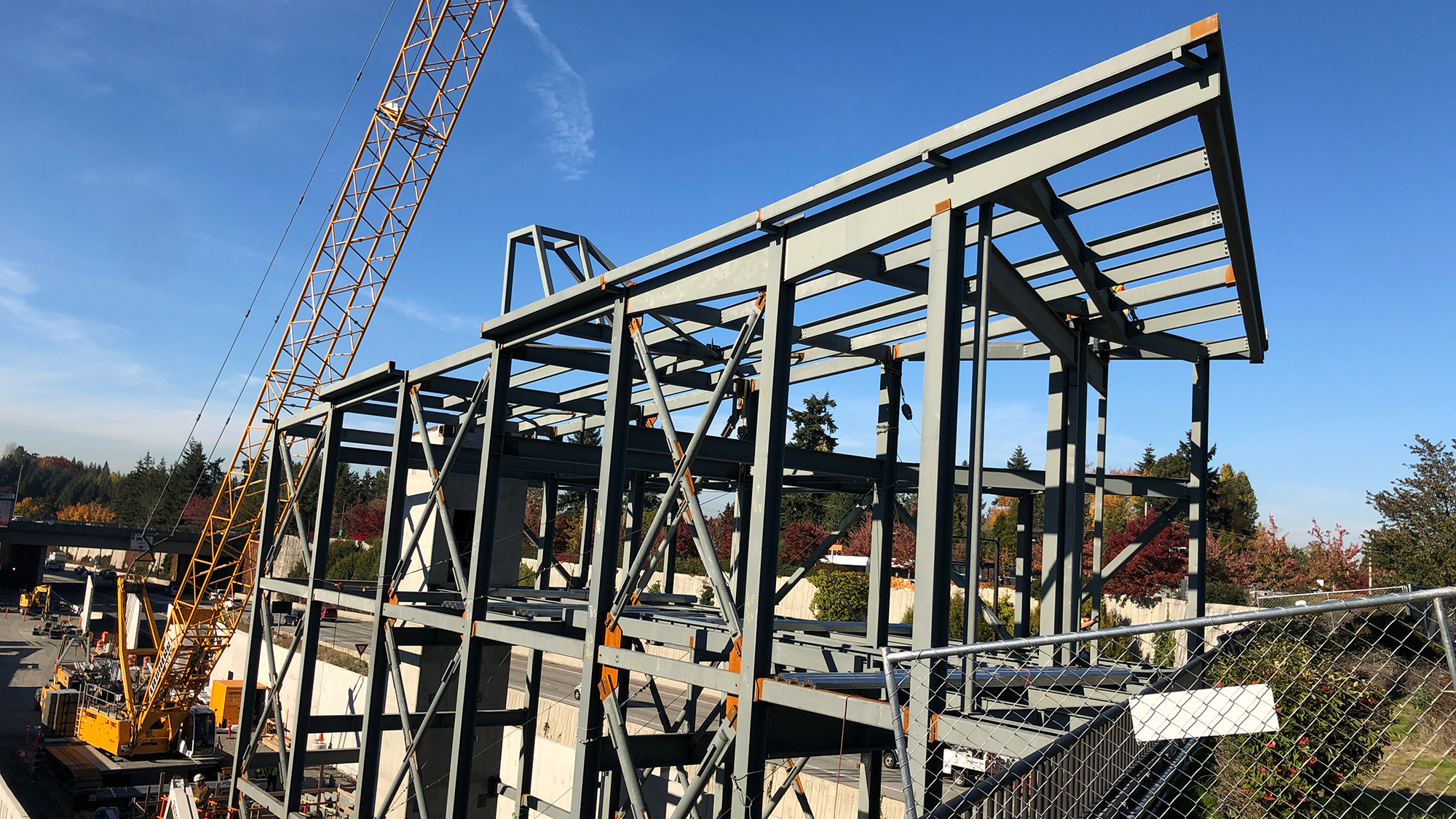 Structural steel installation at the 80th Avenue Southeast head house.