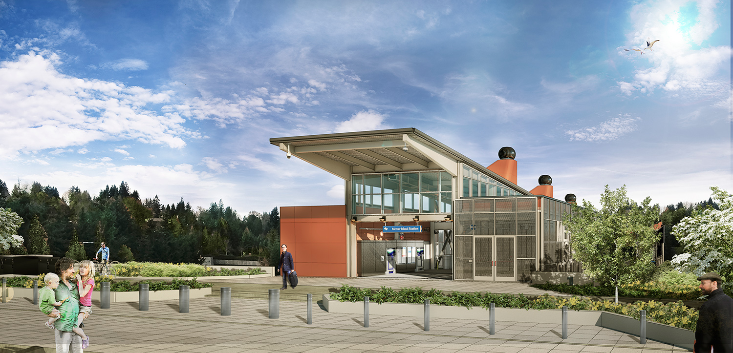 Artist rendering of future Mercer Island station.