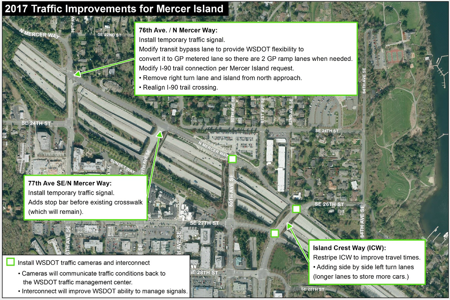 2017 Mercer Island traffic improvement map.