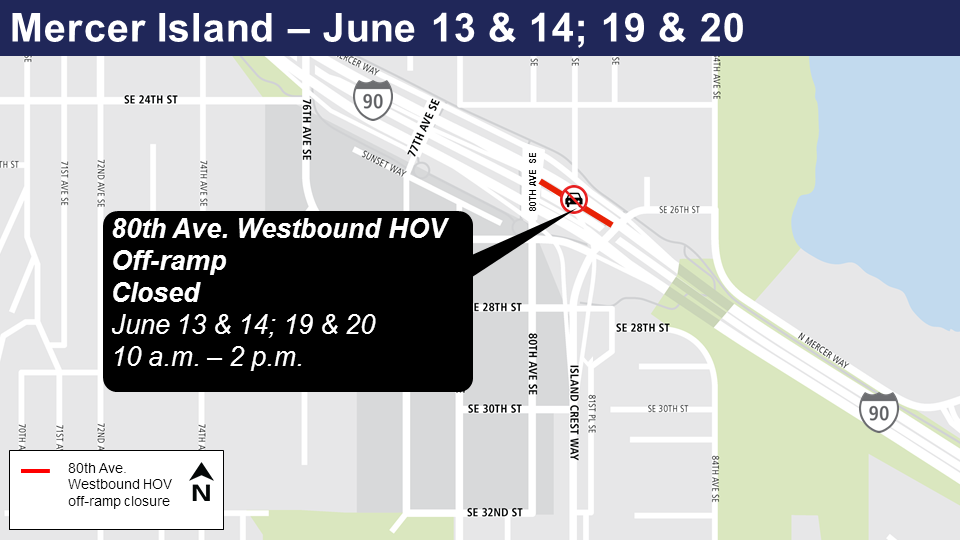 Mercer Island westbound HOV ramp closure.