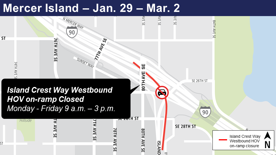 Map of on-ramp-closures for Island Crest Way Westbound, Mercer Island.