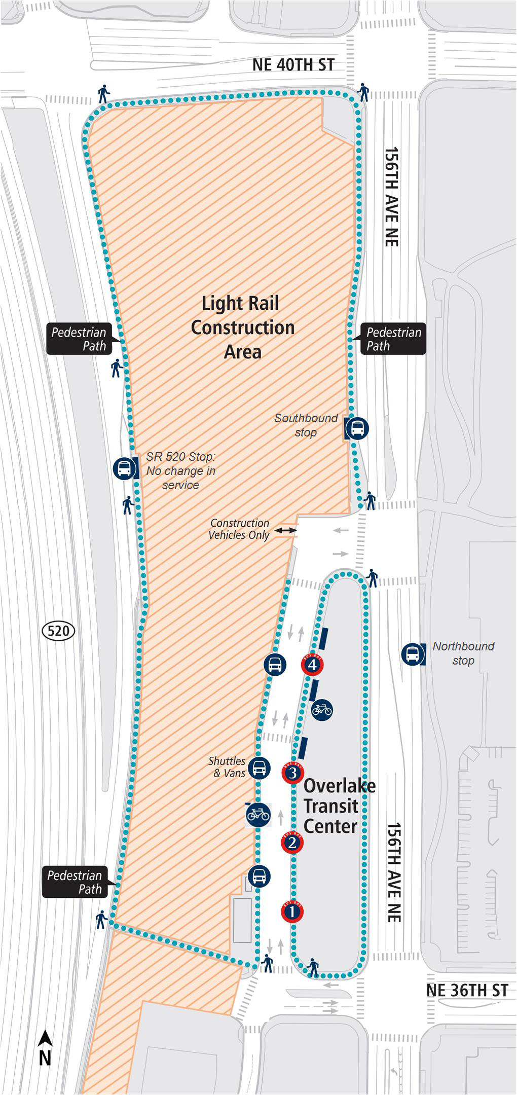Map of Overlake Transit Center changes.